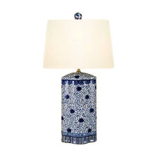 """Chinese Blue and White Porcelain Oval Vase Floral Vine Table Lamp 27"""""""