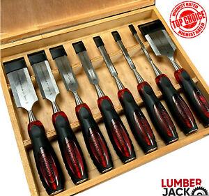 Lumberjack 8 Piece Wood Chisel Set with Split Proof Handles in Wooden Case