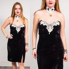 BLACK VELVET MINI DRESS BODYCON VINTAGE 80'S GLAM STEAM PUNK CHOKER LACE 10