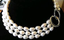 New 3 ROWS 9-10MM GENUINE WHITE AKOYA PEARL NECKLACE 17-19""