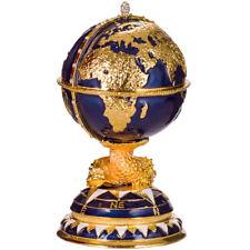Russische Fabergé Ei / Schmuckkästchen Globus mit Schiff 14,5 cm blau