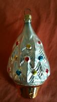 Vintage Handcrafted Pearl White Glass Glittery Christmas Tree Ornament Columbia