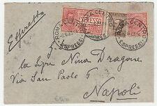STORIA POSTALE 1923 REGNO 3 VALORI SU BUSTA EX ROMA 8/6 Z/1171