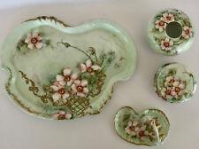 ANTIQUE VINTAGE SIGNED 4 PIECE LIMOGES DRESSER VANITY SET GREEN PINK ROSES C1901