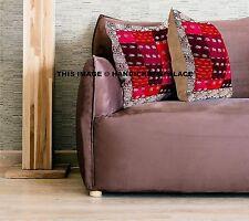 "Patchwork Cushion Cover Dupioni Silk Sofa Throw Ethnic Indian Home Decor 16"""
