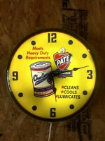 Store display Challenger Pate Heavy Duty Motor Oil can LIGHTED advertising clock