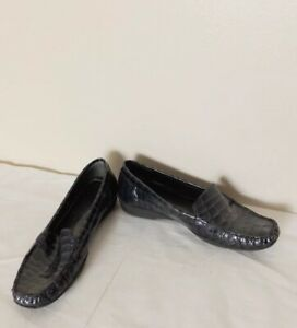 Capollini Blue Leather Faux Crocodile Slip On Loafer Size 37 UK 4