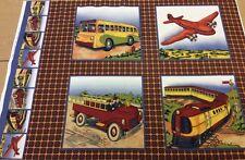 Vintage Voyages Panel - Vintage Bus, Plane, Fire Engine & Train - 100% Cotton