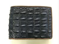 Genuine Crocodile Alligator Hornback Skin Leather Men's Bifold Wallet Dark Blue