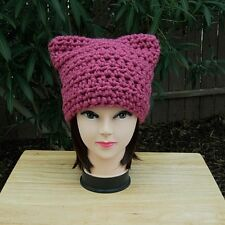 Dark Rose Pink Pussy Cat Hat, PussyHat, Wool Blend Winter Crochet Knit Beanie