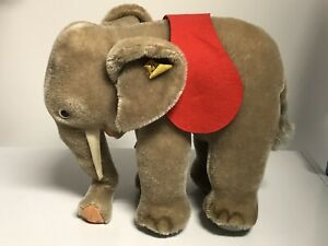 """Vintage Steiff 9-1/2"""" L Gray Mohair Elephant button w/tag & label red saddle"""