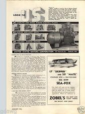1946 PAPER AD Zobel's Sea Skiff 17' Skipper 20' Mate Motor Boat Sea Bright NJ