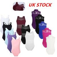 UK Kids Girls Ballet Dance Leotard Strap Gymnastics Dancewear Bodysuits Costumes