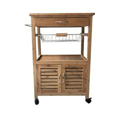 Bamboo Kitchen Trolley Island Dining Basket Rack Shelf Cabinet Storage Wheels