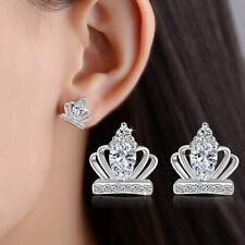 925 Silver AAA Crystal Crown Earrings Stud Queen Women Fashion Jewelry