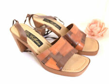 PATCHWORK LEATHER PLATFORMS Shoes leather cord wrap ballet ties Wedge 70s hippy