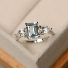 2ct Emerald Blue Topaz Diamond Pear Accent Engagement Ring 18ct White Gold Over