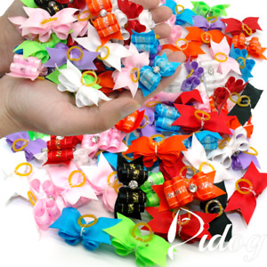 50/100pcs Cute Pet Dog Hair Bows with Rubber Bands Dog Bowknot Hair Accessories