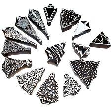Xmas tree Wooden Printing blocks christmas textile fabric stamps set of 15 pcs