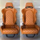 2 X Tanaka Tan Pvc Leather Racing Seats Reclinable Diamond Stitch Fits Mustang