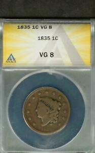 1835 LARGE CENT ANACS CERTIFIED VG8 NO PROBLEMS! #6813