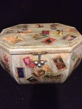 Hand Painted WOODEN JEWELRY/Storage BOX COVERED WITH POSTAGE STAMPS 9.5 X 7X 5.5