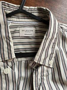 Selected Homme Men's Size Medium Striped Long Sleeved Shirt
