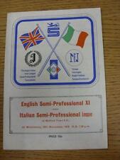 24/11/1976 Inghilterra semi-professionale XI V ITALIANO SEMI-PROFESSIONAL League [A B