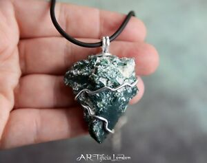 Raw Tree Agate + Sterling Silver Pendant / Necklace PROTECTION BALANCE ABUNDANCE