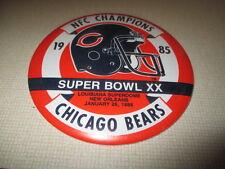 "1985 SUPER BOWL XX CHICAGO BEARS NFC Champions 6"" Pin / Button"