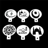6pcs/set Ramadan Eid Mubarak lamp Design Coffee Stencils Cake Template Tool HR#