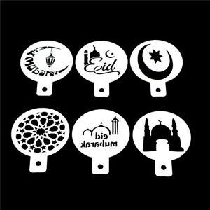 6pcs/set Ramadan Eid Mubarak lamp Design Coffee Stencils Cake Template Tool A^lk
