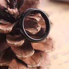 2Pcs Stunning Polished Black Hematite Stone Band Gemstone Ring Costume Jewelry