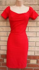 PRIMARK RED STRIPE QUILTED BANDAGE SEXY BODYCON PARTY XMAS SEXY PENCIL DRESS 12