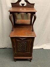 Antique Coal Hod Side Night Stand Mirror Unusual !