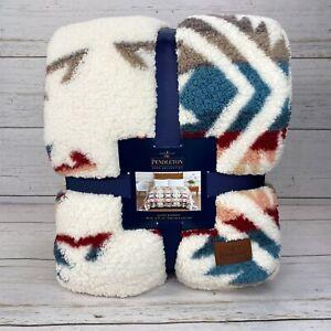 Pendleton Sherpa Fleece Blanket Aztec Southwest Throw Queen 98 x 92 Soft