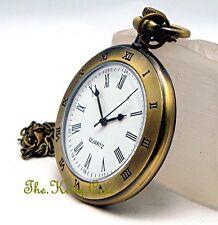 Vintage Brass Open Face Deco Roman Relief Ladies Nurse Pocket Necklace Fob Watch