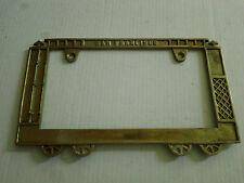Solid Brass Cable Car License Plate Metal Frame Holder Embossed Vintage Trolley