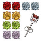 925 Silver Set of 5 Amethyst Citrine Peridot Garnet Blue Topaz 5mm Stud Earrings