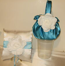 1 FLOWER GIRL BASKET 1 RING PILLOW  CUSTOM MADE IN YOUR COLOR CHOICES,WHITE ROSE