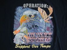 "Vintage Operation DESERT STORM ""SUPPORT OUR TROOPS"" Black Adult T Shirt L"