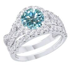 Silver Engagement Ring & Wedding Band 5 ct Light Blue Moissanite Sterling