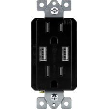 2.1A USB Outlet with Electrical 15A Wall Receptacle TopGreener TU2152A Black