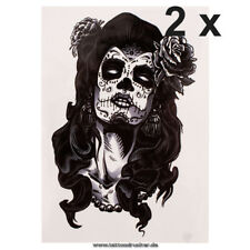 2 x Maske Frau Rose schwarz Fake temporäres einmal Körper Tattoo HB180 Sparset