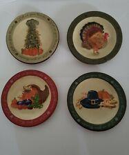 "MWW Market Set of 4 Thanksgiving Let Us Give Thanks 4.5"" Mini Plates Autumn READ"