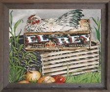 Chicken Rooster Hen Animal Kitchen Wall Decor Barnwood Framed Picture (19x23)