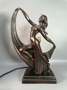 deco style faux bronze table lamp light lighting dancing dancer interior