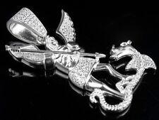 "Men's Sterling Silver White Gold Angel Vs Devil Lab Diamond Pendant Charm 1.7"""