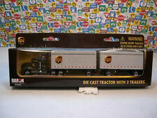 UPS TRACTOR WITH 2 TRAILERS DARON 1:87 HO SCALE DIECAST MODEL RAILROAD EQPT