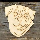 10x Wooden Pug Dog Head Craft Shapes 3mm Plywood Pet Animal